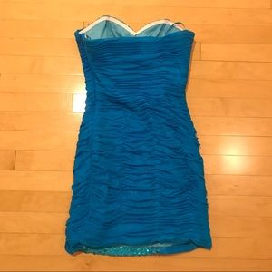 Cinderella Dresses - Strapless homecoming aqua blue ombré sequin dress